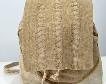 Handmade backpacks - made of linen and sacking with decoration and lace