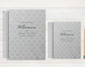 Wedding Journal, Wedding notebook, custom Wedding journal, Personalized Bridal journal, Personalized journal, silver pattern