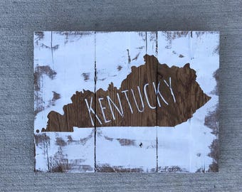 Distressed Kentucky Wood Sign