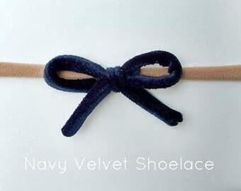 Navy Velvet Shoelace