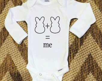 Peeps bunny easter onesie, bunny plus bunny equals me, handmade, custom
