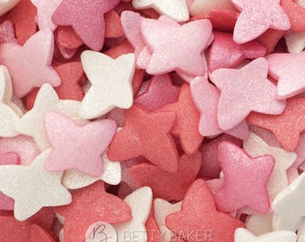 Glimmer Pink Mix Butterfly Sugar Sprinkles -  Sugar Butterflies - Cake Decor, Edible Sugar Sprinkles, Cupcake Decorations.