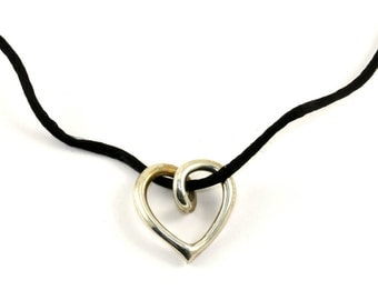 Vintage Heart Shape Pendant Black Rope Necklace NC 353