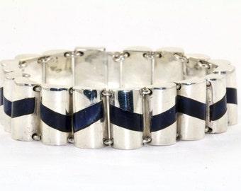 Vintage Chevron Design Sodalite Inlay Link Bracelet Mexico Taxco 925 Sterling BR 1022