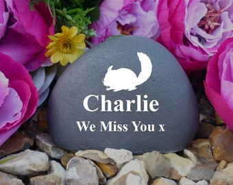 Personalised Pebble (Stone Effect) - Weatherproof - Freestanding - Pet Memorial - Chinchilla