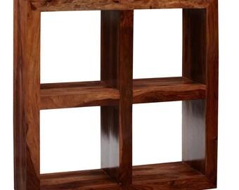 Cube 4 Hole Shelf Wooden Bookcase - Hardwood honey stain - Walnut Mahogany