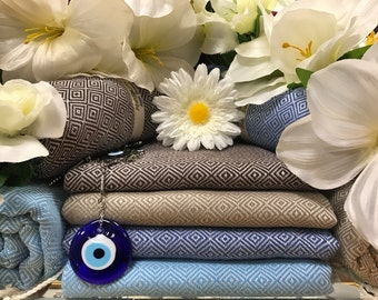 Naturals set of 4! Diamond Patterned Turkish Peshtemal Beach Towel 100%Bamboo