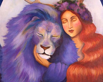 Giclee print: Lady and the lion