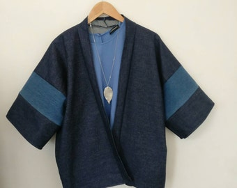 Double denim jacket kimono loose fit throw on, handmade in Brighton, send a message for more sizes