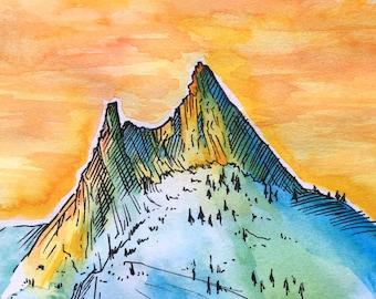 "Cathedral - Tuolumne - Yosemite - Original Watercolor Painting (5"" x 5"")"