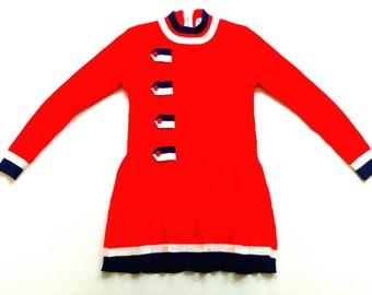 VinTage girls DresS 6Y oldSchool 70s retro dress StrickKleid 116 70s