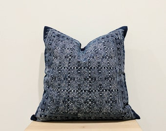 Authentic Hmong Batik vintage boho tribal indigo navy blue pillow cover 16x16""