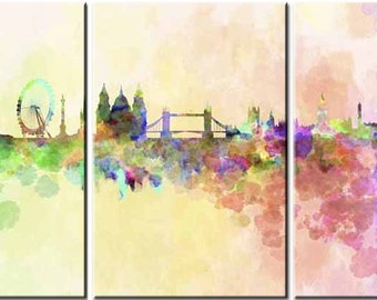 London Water Colour, 3 Panels,Digital Print,Wall Art, Colourful