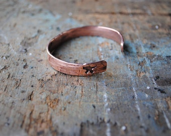 Hand Forged Copper Anvil Stamped Bangle