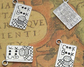 15pcs Cook Book Charms Cook Book Pendants Silver Tone 12 x 17 mm ASD1320