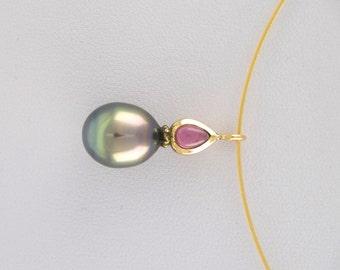 UNIQUE trailer in 750 / - yellow gold with Tahitian - South Sea Pearl and tourmaline cabochon Teardrop