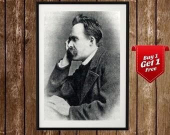 Nietzsche Poster - Friedrich Nietzsche , German Philosophy , Philosopher, Thinker, Nietzsche Print , Portrait , Nietzsche Thinking