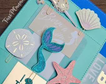 Ocean Theme Paper Clips | Starfish | Narwhal | Sand dollar | Seashell | Planner Clips | Bookmark