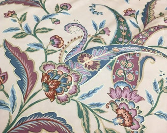 Vintage Kenmill pale peach fabric with Paisley Floral outlined in Metallic Gold