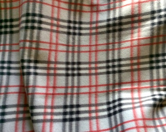 "Soft fuzzy 60""x35"" black gray red and white plaid fleece blanket, kids throw"