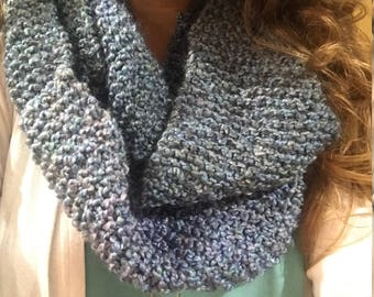 Blue Hand Knit Infinity Scarf