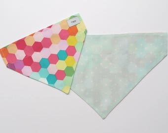 Reversible Dog Bandana | Coloured Hexagons + Mint/White Stars
