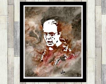 Christopher Walken Inspired ORIGINAL Watercolour Painting, Fan Art, SNL More Cowbell, Wall Art, Poster, Men's Gift, Pop Art