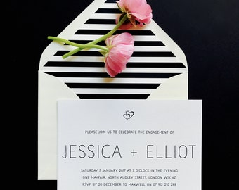 Printable Engagement Party Invitation - Modern Minimal Engagement Invite - Black and White - Printable Template