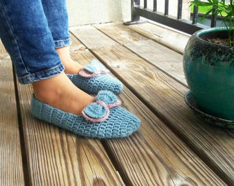 Blue, Knitted Slippers with Ribbons, House Shoes,Turkish Patik, Handmade