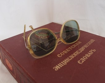 Vintage oversized sunglasses.Beautiful eyeglasses.Fashion eyeglasses.Altered transformed.Grandpas eyewear.Retro eyeglasses.Soviet Eye Glass.