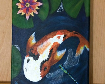 Koi and Dragonfly