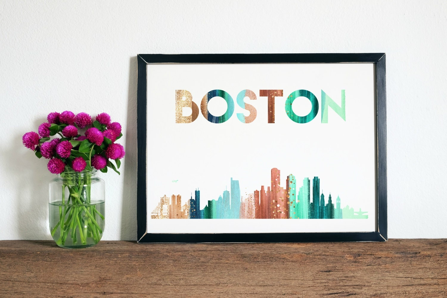 Boston Wall Art boston city skyline - 8x10- boston city, boston skyline, boston