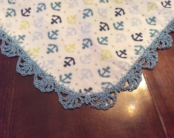 Hand crocheted edging on receiving blanket with anchors - blue, green, white