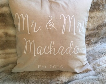 Personalized Pillow, bridal shower pillow, personalized wedding pillow