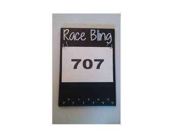 Race Medal Holder - Race Bib Holder - Running Medal and Bib Holder - Medal Display - RUN - Marathon-5K-10K-Half Marathon