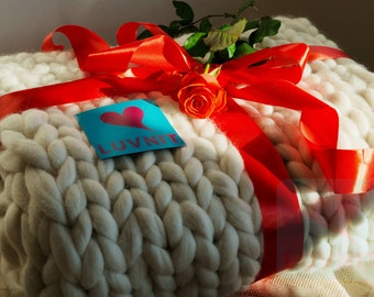 "47X63"" Premium quality hand-made merino wool huge-stitch blanket"