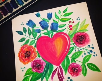 Hand painted watercolor floral heart