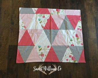 Pink Floral and Black Triangle Blanket