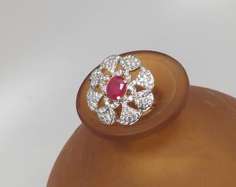 Unguru Series -  Cubic Zirconia statement adjustable Ring, indian ring, bollywood ring