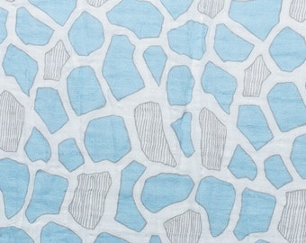 Embrace Double Gauze Fabric in Giraffe Spots Baby Blue - 100% cotton muslin swaddle fabric by the yard
