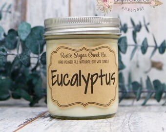 Eucalyptus Scented Candle, Soy Wax Candle, Scented Candle, Man Candle, Mason Jar Candles, Gifts Under 20, Aromatherapy, Relaxing Candle