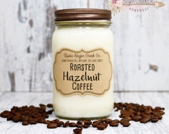 Roasted Hazelnut Coffee Scented Candle, Soy Wax Candle, Scented Candle, Mason Jar Candles, Gifts Under 20, Coffee Candle, Strong Coffee