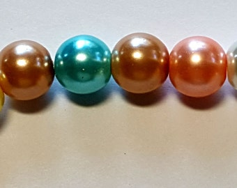 8mm multicolor round glass pearl beads  16 inch strand