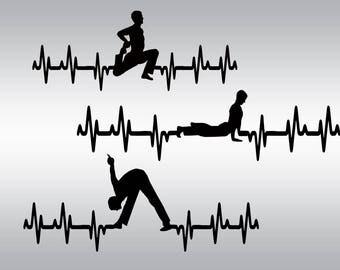 Yoga svg, Meditation svg, Yoga silhouette, Yoga T-shirt, Heartbeat svg, Namaste svg, Cricut, Cameo, Yoga clipart, Svg, DXF, Png, Pdf, Eps