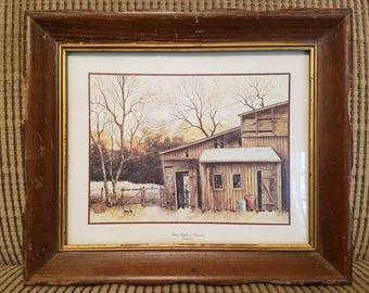 Vintage framed barn print, Robert Nidy