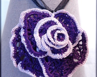 Necklace and wonderful crochet pendant in the shape of a flower - in the purple tones
