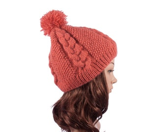 Pink hand-knit hat for women