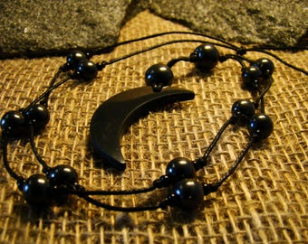 """Shungite necklace """"Crescent"""" with beads from Karelia."""