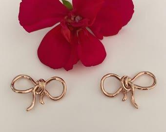 14k Rose Gold Bow Earrings