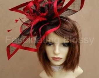 Red & Black Feathered Fascinator
